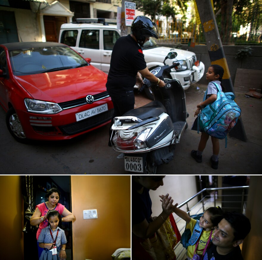 Mohid Wadhwa takes his daughter Gaurika, 7, to school on the family's motor scooter, which they use on the days they cannot drive their car because of the odd/even car rationing program. (Bottom left) Muskan Wadhwa brushes Gaurika's hair before school. (Bottom right) Aradhya, 3, says goodbye to her mother as her father prepares to put her in a taxi to preschool.