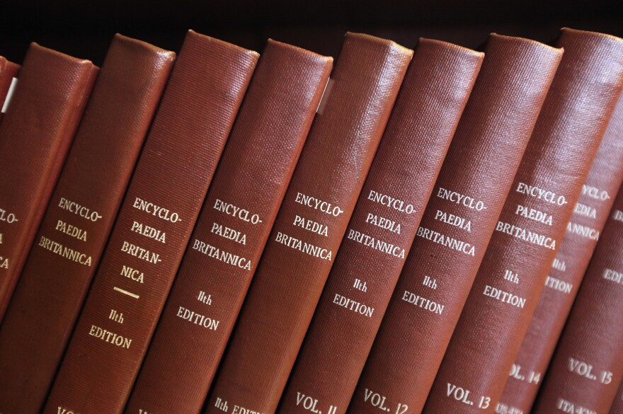 Encyclopedia Britannica editions are seen at the New York Public Library on March 14, 2012 in New York City.