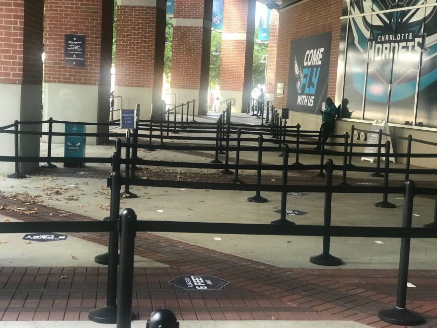 The Spectrum Center was ready for long lines of voters, but by mid-afternoon, the corrals were empty.