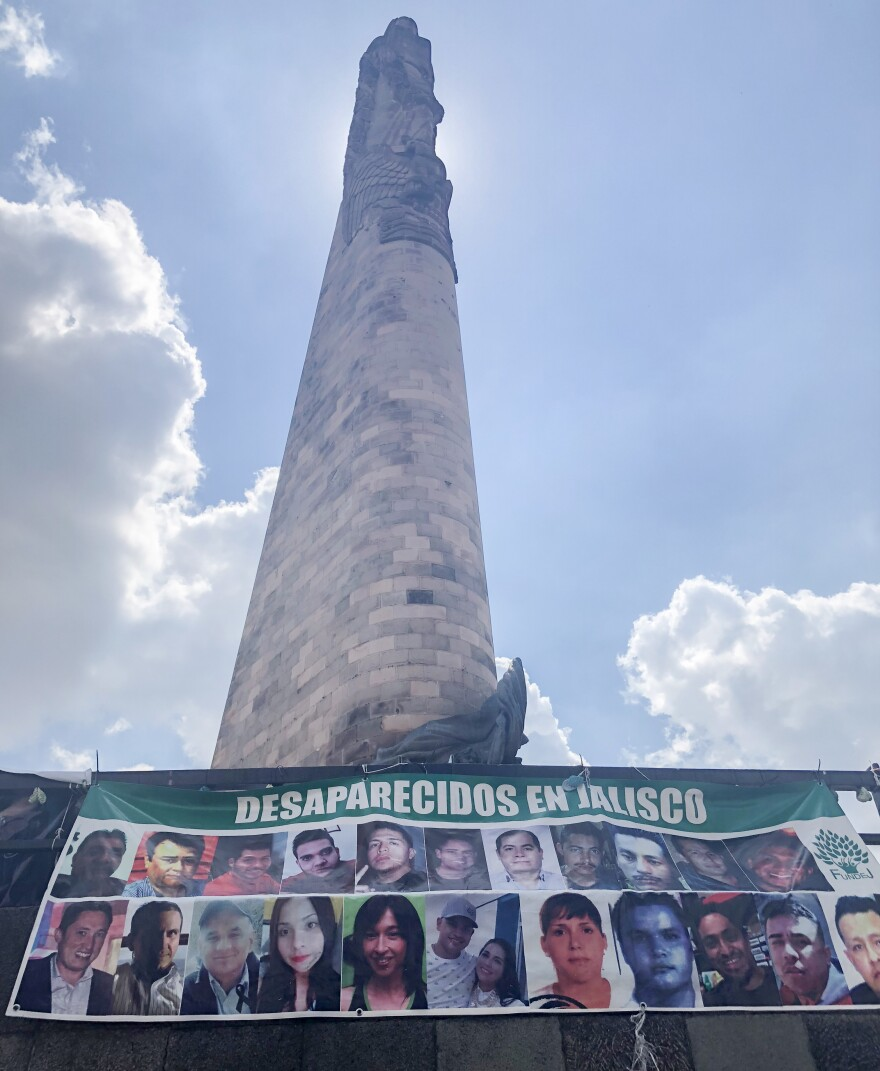 """This major traffic roundabout in Guadalajara contains several banners of missing people. It has been renamed the """"Roundabout of the Disappeared."""""""