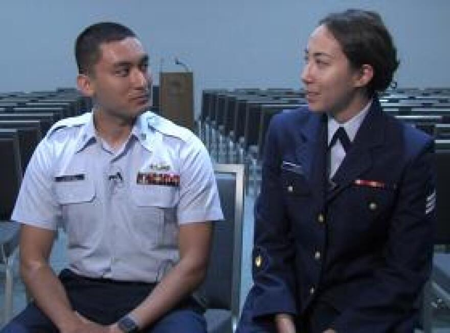 Cody Litman and his wife, Loren Mano, are starting their careers in the Coast Guard, but already are thinking about whether they'll both remain in the service if they have children.