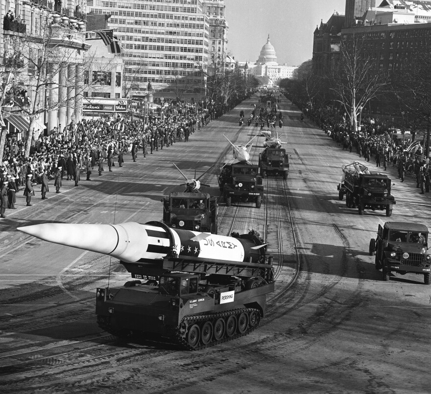 An Army Pershing missile mounted on a tank-like carrier is featured in the inaugural parade for President John F. Kennedy along Pennsylvania Avenue on Jan. 20, 1961.