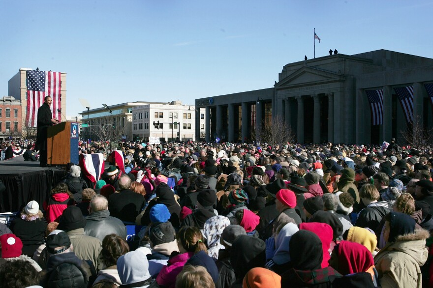 Then-Sen. Barack Obama speaks to a crowd of thousands who turned out on a cold February day in 2007 to hear him announce his candidacy for president.
