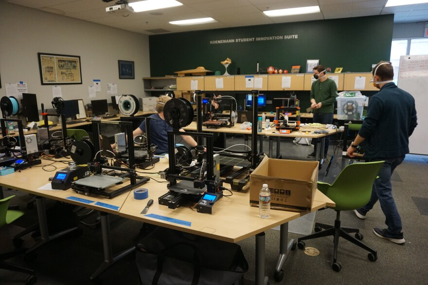 More than a dozen S&T students brought their own personal 3D printers to the design center to help with the project. JA 03-23-20