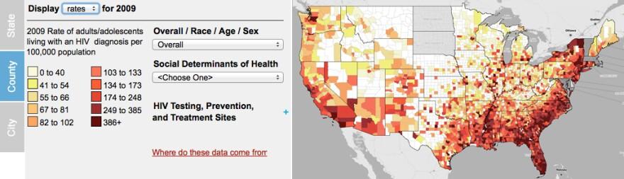 Screenshot of the AIDSVu interactive map.