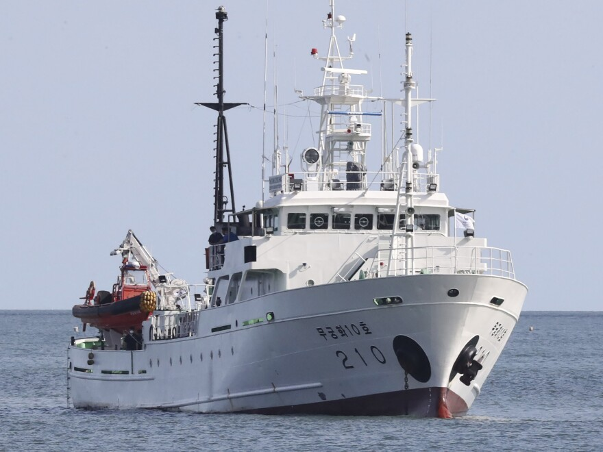 A South Korean fisheries patrol boat seen off Yeonpyeong Island on Thursday, near North Korean waters. South Korean officials say a fisheries inspector working on the boat disappeared Monday and was killed by North Korean troops.