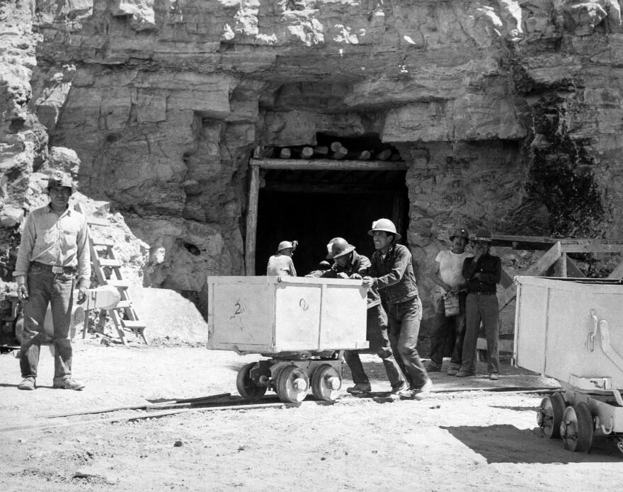 Navajo miners work at the Kerr-McGee uranium mine at Cove, Ariz., on May 7, 1953.