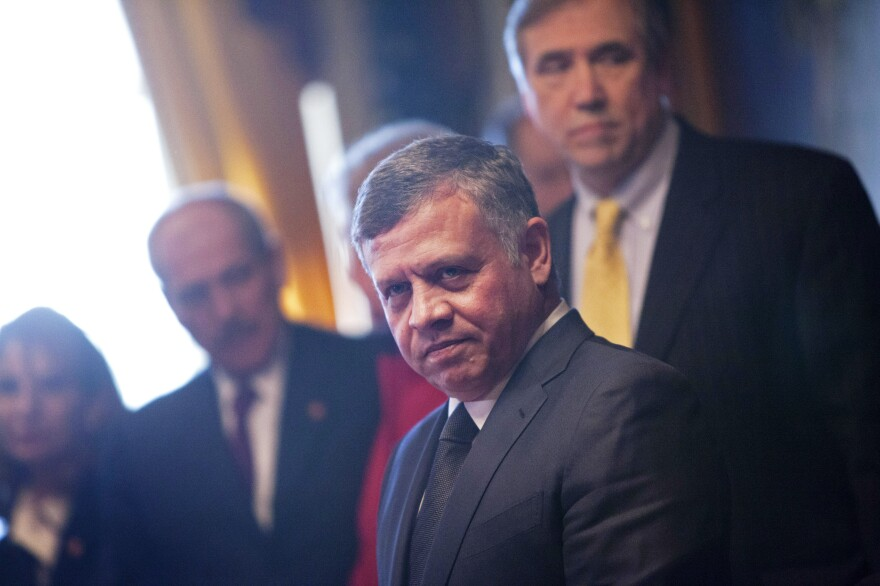 Jordan's King Abdullah prepares to meet U.S. senators in Washington on Feb. 3. A close U.S. ally, the monarch faces critics at home, both religious and secular, who are pressing for greater political rights.