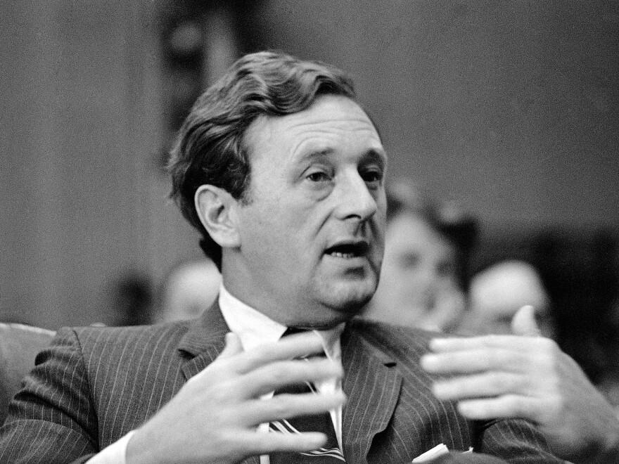 Nashville <em>Tennessean</em> Editor John Seigenthaler testifies at a Senate Commerce Subcommittee hearing in Washington in 1969. Seigenthaler died Friday at 86.