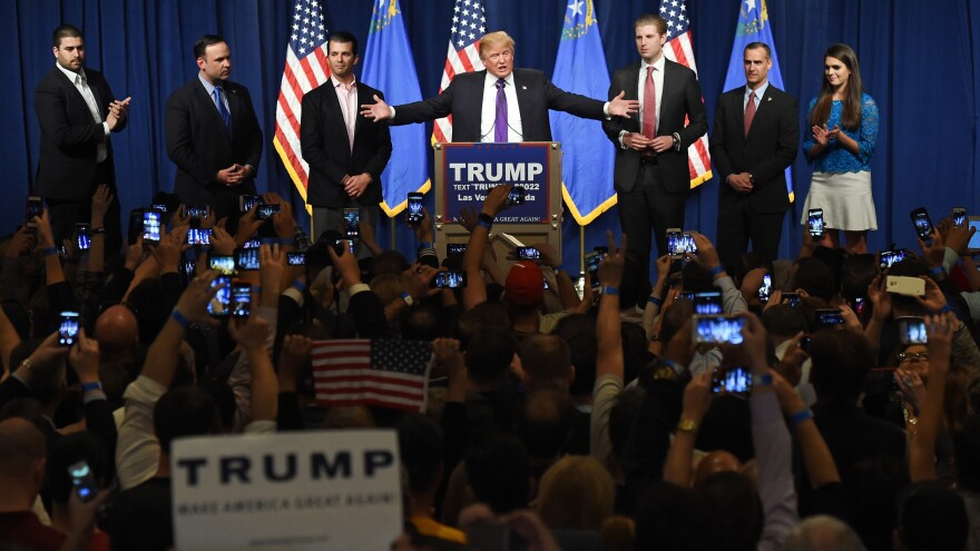 Donald Trump delivering his victory speech in Las Vegas Tuesday night, after winning the Nevada GOP caucuses.