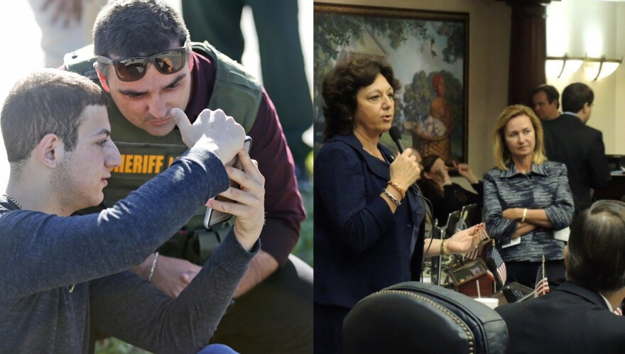 A student shows a law enforcement officer a photo or video from his phone, Wednesday, Feb. 14, 2018, in Parkland, Fla. (Left) / Sen. Kathleen Passidomo, R-Naples, (Right)