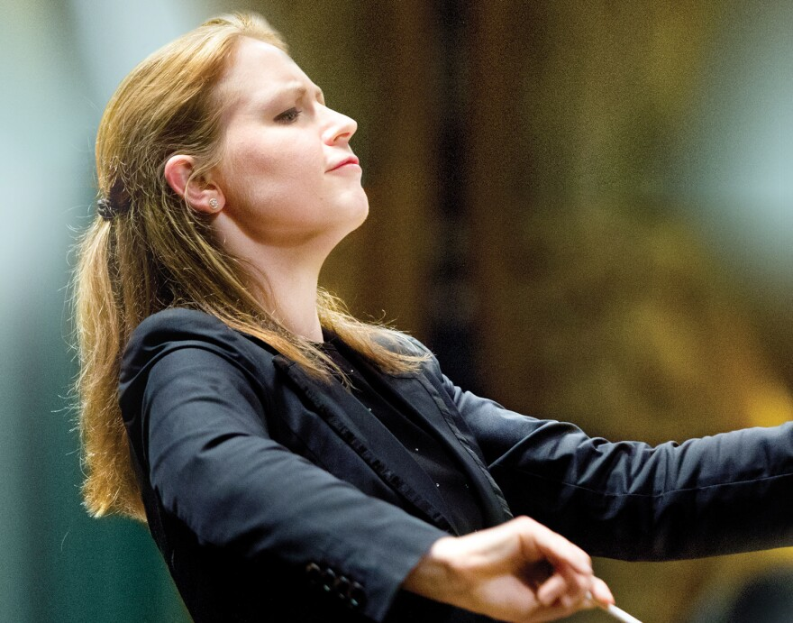 Gemma New was the first woman and the first resident conductor to lead St. Louis Symphony Orchestra's opening night concert. 10/11/18