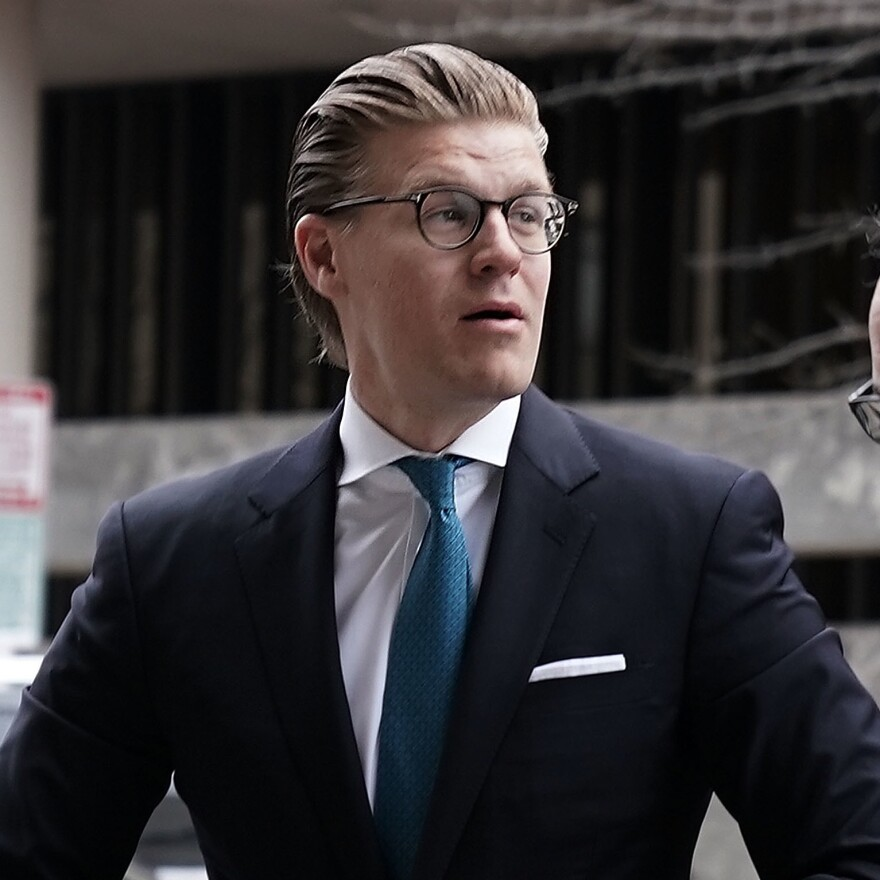 Alex van der Zwaan arrives at a U.S. district courthouse in Washington, D.C., for his sentencing on April 3, 2018.