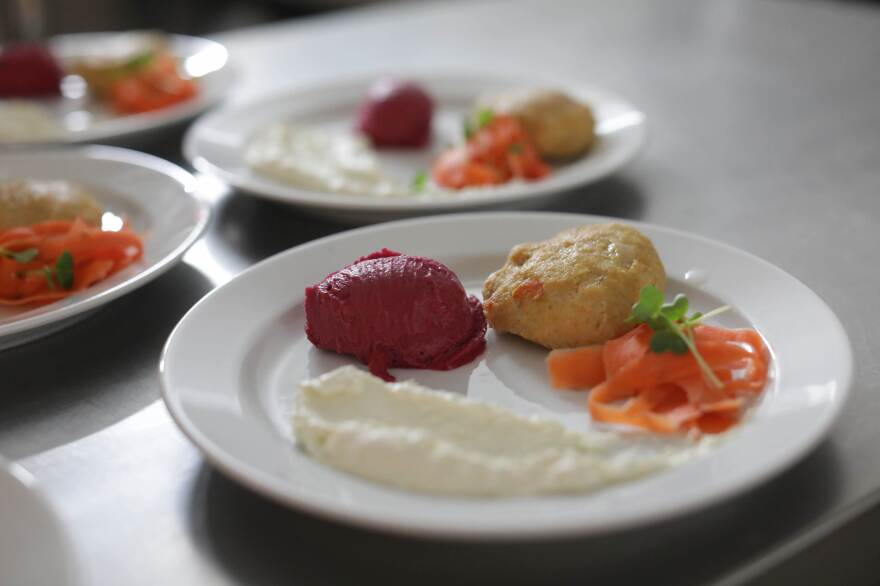 A dish prepared by Itay Novik: gefilte fish made of (non-kosher) eel.