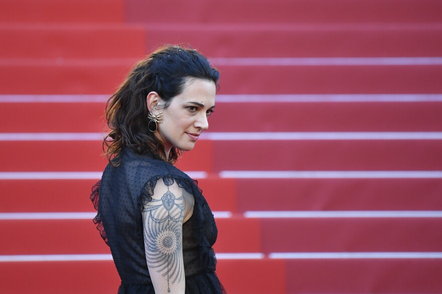 Actress Asia Argento arrives for the screening of <em>Ismael's Ghosts</em> at the Cannes Film Festival in southern France in 2017.