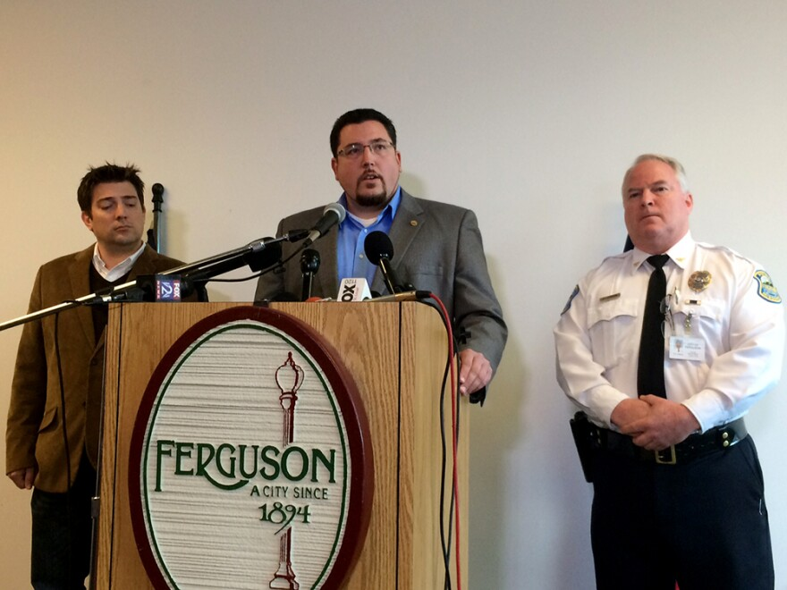 Ferguson City Manager John Shaw, Mayor James Knowles and Police Chief Tom Jackson on Sunday, November 30, 2014.