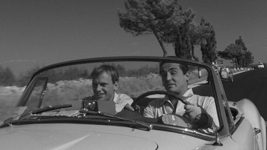 Jean-Louis Trintignant plays Roberto Mariani (left) and Vittorio Gassman plays Bruno Cortona (right) in Dino Risi's <em>Il Sorpasso</em>.