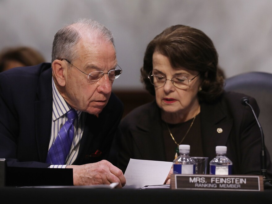 Senate Judiciary Committee Chairman Charles Grassley, R-Iowa, and ranking member Dianne Feinstein, D-Calif., participate in an executive business meeting in April. A party-line vote by the committee on Thursday advanced the judicial nomination of Brett Talley despite his lack of trial experience.