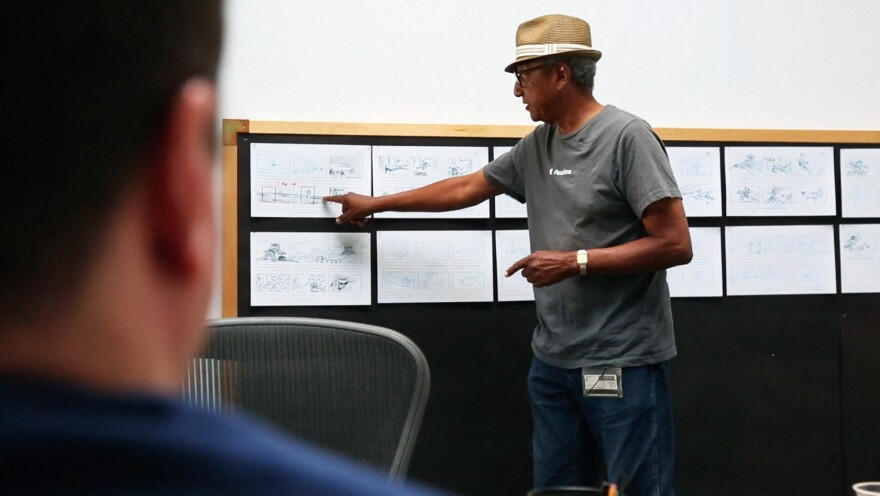 Norman pitches his storyboards to Disney executives in fall 2014.