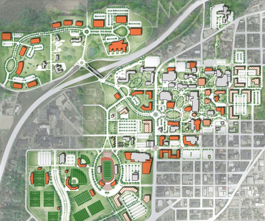 A map of Missouri S&T's Master Plan: Buildings in white are existing. Dark orange indicates new building construction, light orange indicates buildings that would be renovated and striped buildings are planned for mixed use.