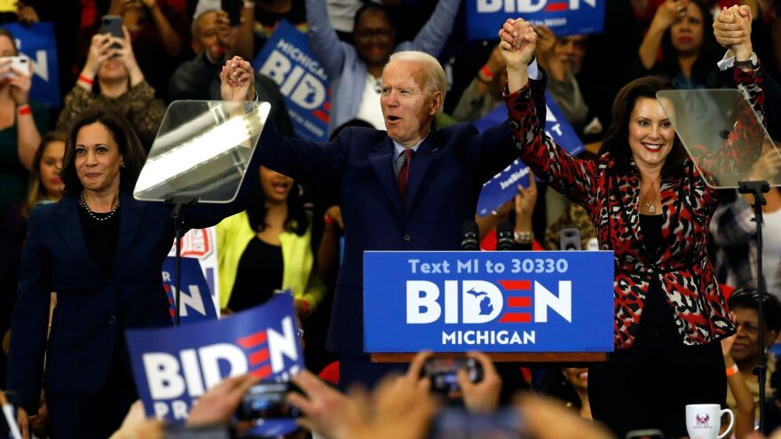 California Sen. Kamala Harris (left) and Michigan Gov. Gretchen Whitmer are two potential running mates for presumptive Democratic presidential nominee Joe Biden, a former vice president himself.
