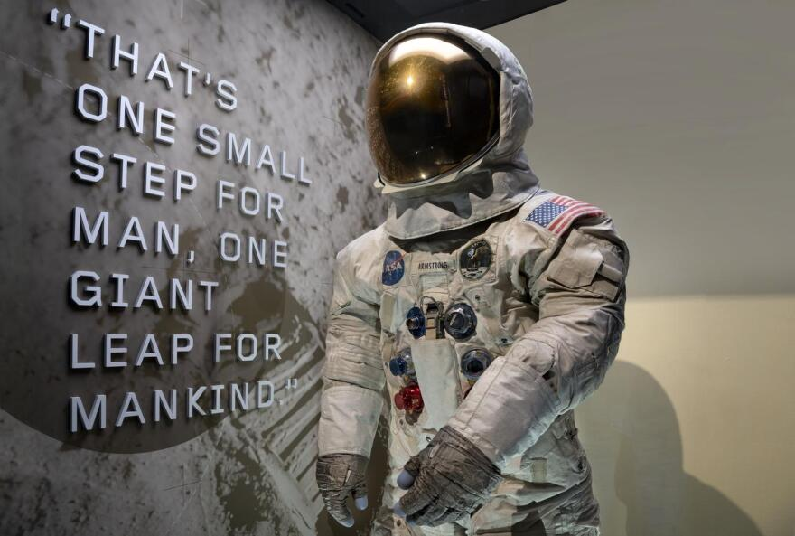 Neil Armstrong's Pressure Suit, A7-L, A19730040000, Apollo 11, that he wore to walk on the moon July 20, 1969 in its new display case in The Wright Brothers & the Invention of the Aerial Age Gallery of the National Air and Space Museum