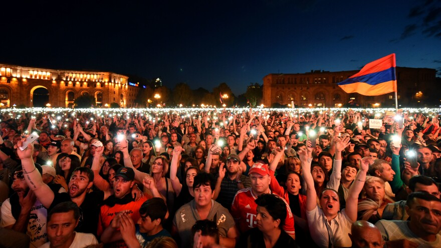 Nikol Pashinyan's supporters packed a square Tuesday in the capital, Yerevan, after lawmakers rejected the opposition leader's bid for prime minister. Pashinyan is calling for a campaign of civil disobedience in protest.