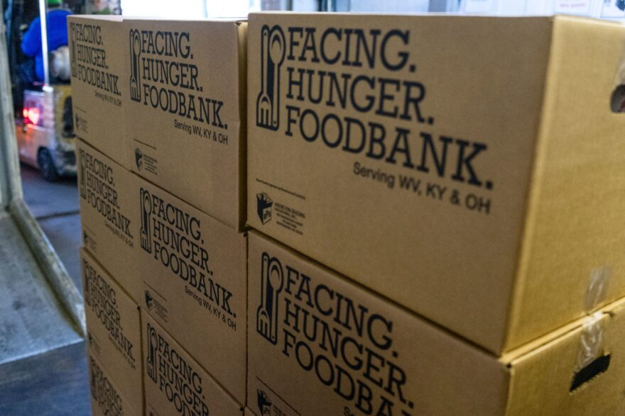 Food is ready for loading and distribution the Facing Hunger Food Bank in Huntington, West Virginia..