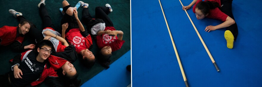 Left: The advanced team laugh together during a break. Right: A Wushu student stretches to prepare for practice.