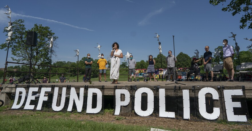 "Alondra Cano, Minneapolis City Council Ward 9 representative, spoke to community members at ""The Path Forward"" meeting at Powderhorn Park, where she joined eight of her colleagues in announcing plans to disband the city police department."