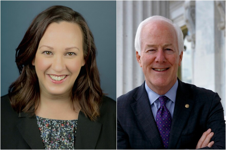 Democrat MJ Hegar (left) will face Republican incumbent John Cornyn to represent Texas on the U.S. Senate.