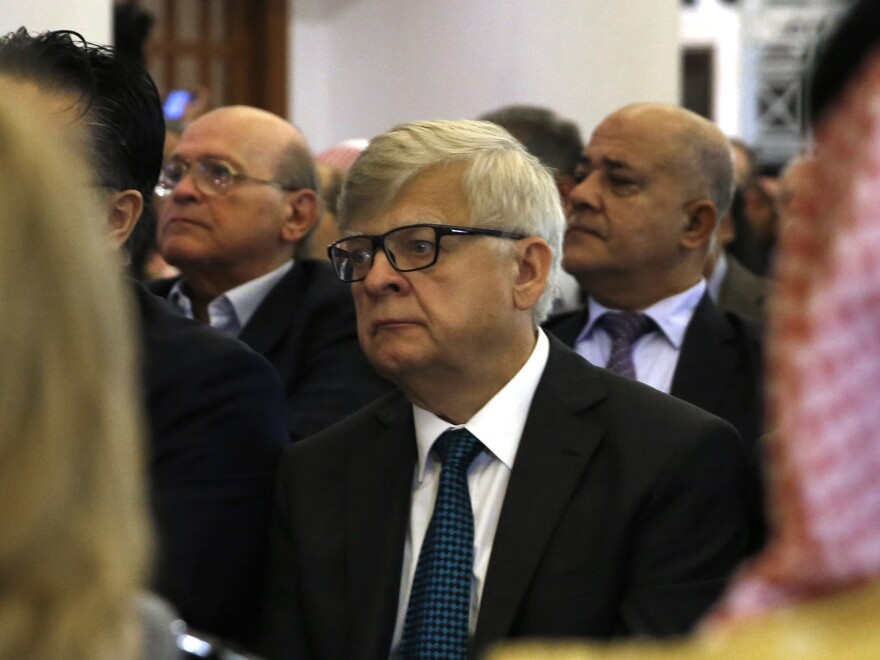 "Russia's ambassador to Lebanon Alexander Zasypkin, shown in Beirut last year, warned in a television interview on Tuesday that Russia would ""shoot down"" any American missiles launched at Syria."